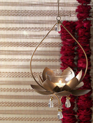 Gold Apsara Hanging Tealight (L-7.5in, W-7in, H-22in)