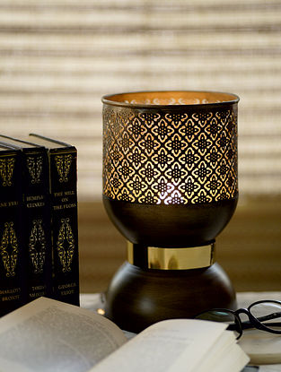 Antique Gold Ajrakh Table Light (Dia-5.3in, H-8in)