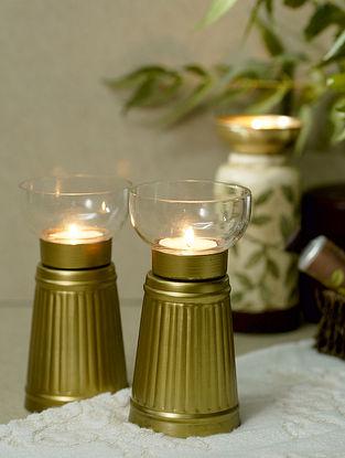 Antique Gold Aranaya Tealight (Set Of 2) (Dia-2.95in, H-5.9in)