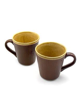 Brown Coffee Mugs (Set Of 2) (Dia-3.54in ,H-3.62in)
