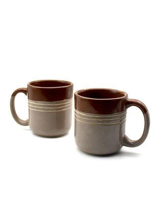 Brown Tea Cups (Set Of 2) (Dia-2.95in ,H-3.22in)