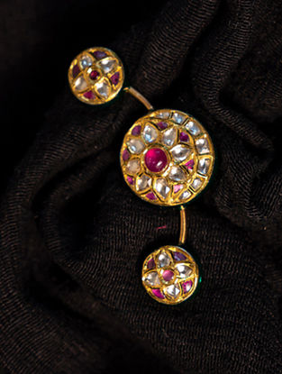 Gold Polki Diamond Adjustable Ring with  Rubies