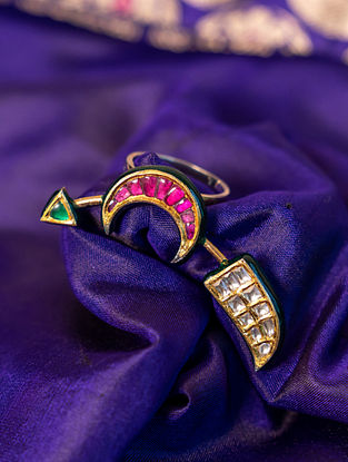 Gold Polki Diamond Adjustable Ring with  Emeralds and Rubies