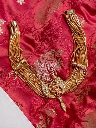 Gold Polki Diamond Necklace with Rubies