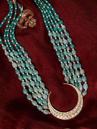 Gold Polki Diamond Necklace with  Green Onyx