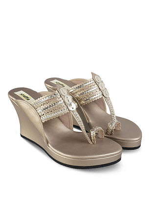 Champagne Handcrafted Faux Leather Kolhapuri Wedges