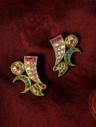 Gold Polki Diamond Earrings with  Emeralds and Rubies