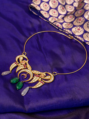 Gold Polki Diamond Necklace with  Emeralds and Rubies