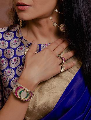 Gold Polki Diamond Bracelet with  Emeralds and Rubies