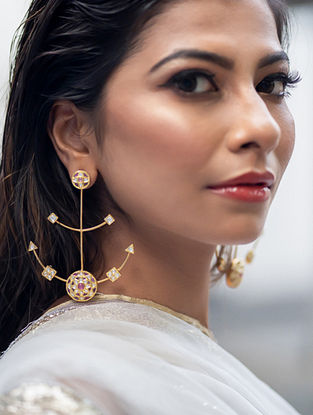 Gold Polki Diamond Earrings with  Rubies