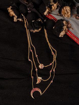 Gold Polki Diamond Layered Necklace with Rubies