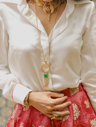 Gold Polki Diamond Necklace with  Emeralds