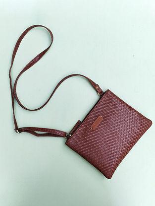 Brown Handcrafted Medium Sized Vegan Leather Sling Bag