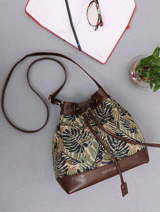 Green Handcrafted Woven Vegan Leather Sling Bag