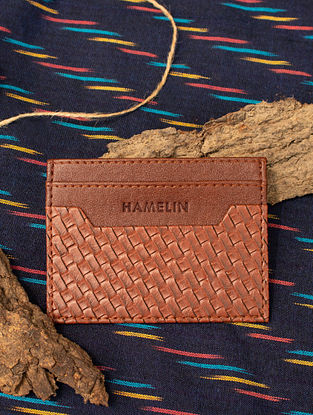 Brown Handcrafted Vegan Leather Card Holder
