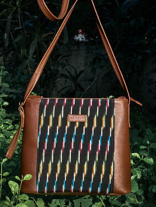Black Handcrafted Ikat Vegan Leather Sling Bag