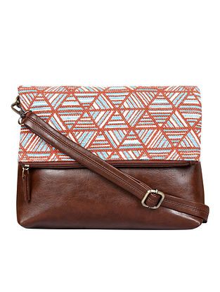 Multicolored Handcrafted Woven Vegan Leather Sling Bag