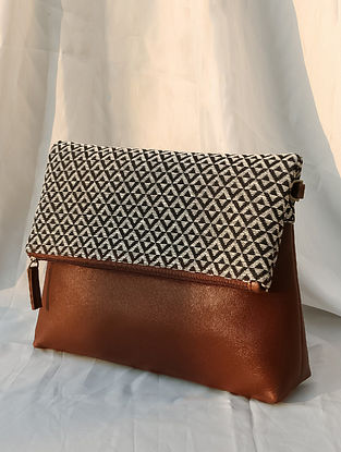 Black White Handcrafted Woven Vegan Leather Sling Bag