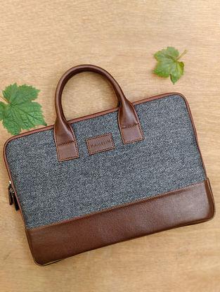 Grey Handcrafted Denim Vegan Leather Laptop Sleeve