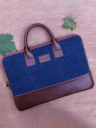 Blue Handcrafted Denim Vegan Leather Laptop Sleeve