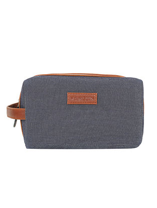 Blue Handcrafted Denim Vegan Leather Pouch