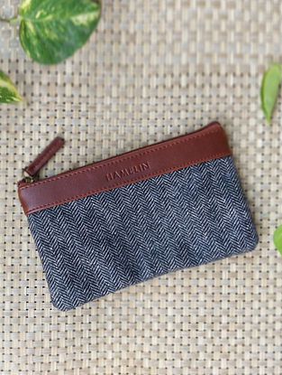 Grey Handcrafted Vegan Leather Pouch