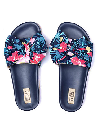 Blue Handcrafted Printed Silk Flats