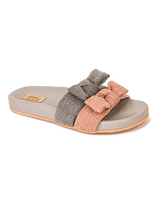Grey Peach Handcrafted Flats