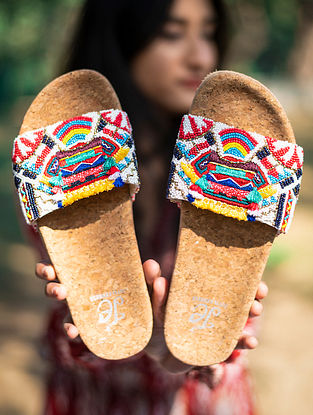 Multicolored Handcrafted Beaded Silk Flats