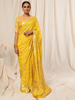 Yellow Printed Crepe Saree