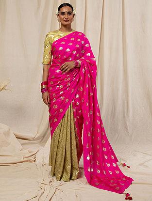 Pink Printed Crepe Saree