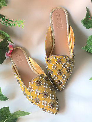 Mustard Handcrafted Embellished Faux Leather Mules