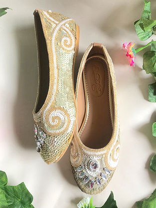Cream Handcrafted Embellished Faux Leather Ballerinas