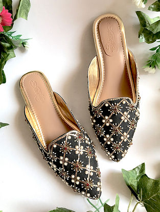 Black Handcrafted Embellished Faux Leather Mules