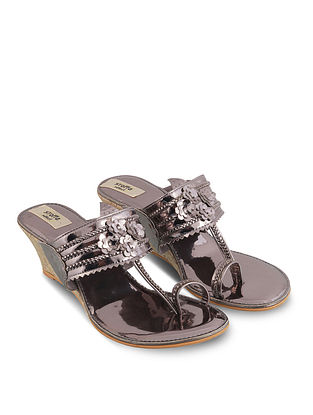Pewter Handcrafted Faux Leather Kolhapuri Wedges