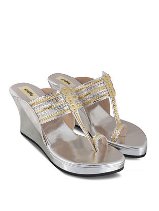 Silver Handcrafted Faux Leather Kolhapuri Wedges