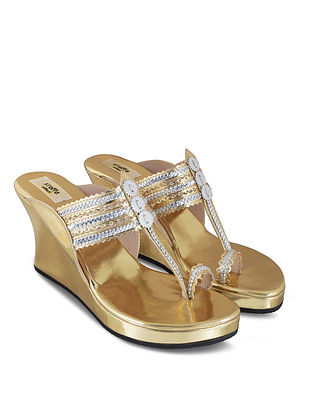 Gold Handcrafted Faux Leather Kolhapuri Wedges