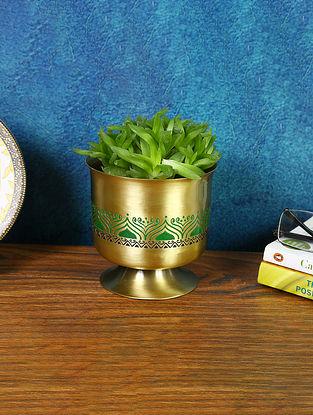 Gold Brass Utsav Indoor Decor Planter (Dia-4.5in ,H-4.75in)