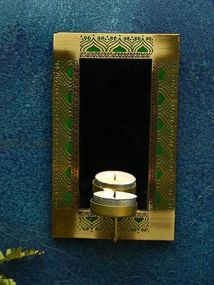 Gold Brass Utsav Decor Wall Scone (L-4.5in ,W-3.25in ,H-7.5in)
