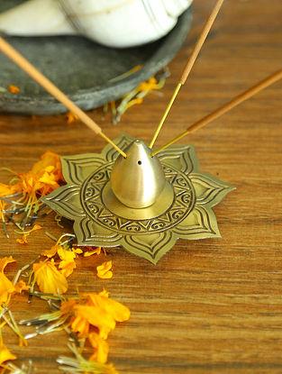 Antique Gold Brass Alpana Incense Holder (Dia-4in ,H-2in)