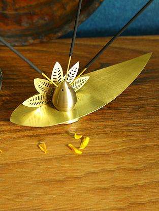 Antique Gold Brass Incense Holder (L-7.5in ,W-2.75in ,H-2.75in)