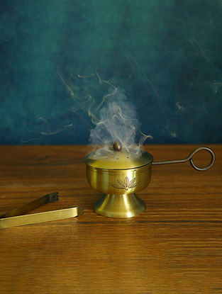 Antique Gold Brass Fumer with Tong