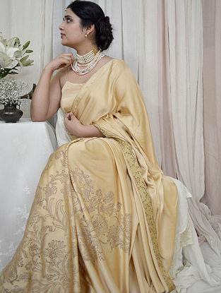 Beige Handloom Hand Block Printed Modal Silk Saree