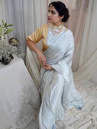 Blue Handloom Hand Block Printed Modal Silk Saree