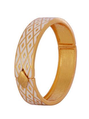 White Gold Tone Enameled Bangle