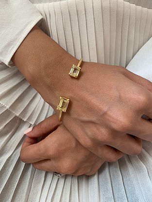 Yellow Gold Tone Handcrafted Cuff