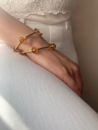 Orange Gold Tone Handcrafted Cuff