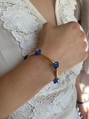 Blue Gold Tone Handcrafted Cuff