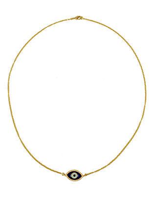 Blue Black Gold Tone Enameled Necklace