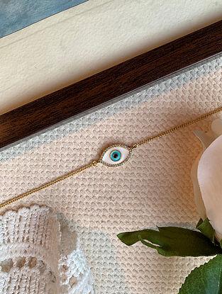 White Gold Tone Enameled Bracelet